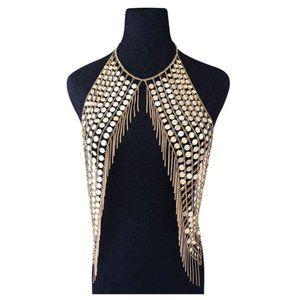 Gold Bikini Necklace Body Chain